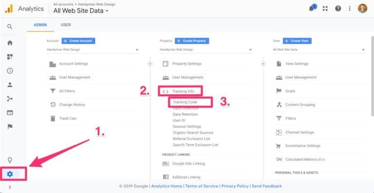 how to setup google analytics on your handyman website, step 1