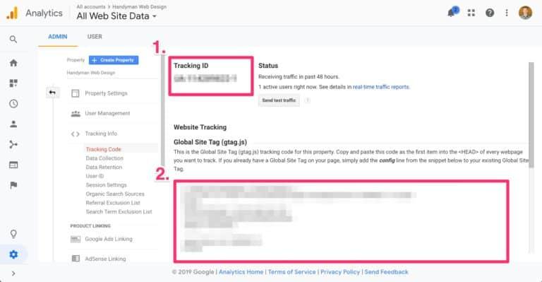 how to setup google analytics on your handyman website, step 2