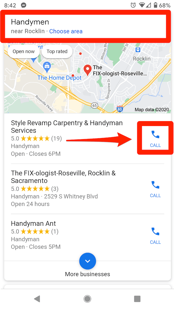 mobile google local pack for handyman seo
