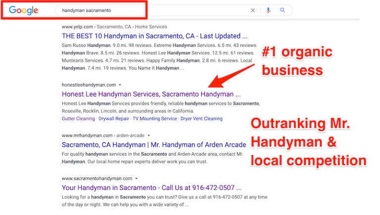 handyman web design customer outranking mr handyman seo