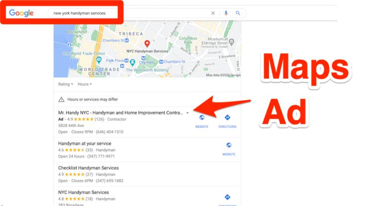 handyman ppc google map results